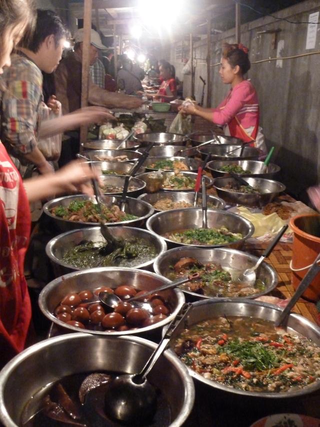 Buffet at the night market in Luang Prabang