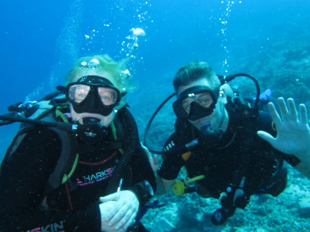 Underwater with my dive buddy Roger