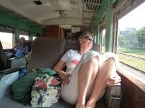 Muriel enjoying the sun & last leg of the epic train journey